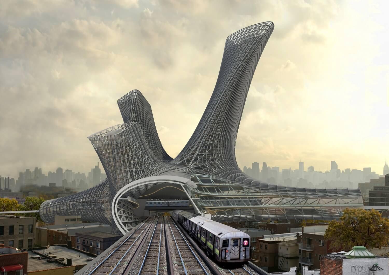 New-York Alliage Urbain : un projet futuriste pour habiter au-dessus des voies de transports