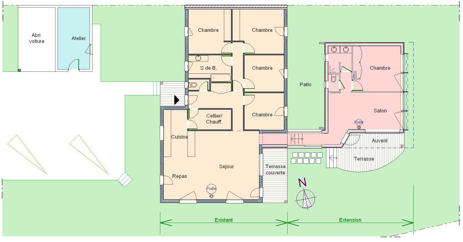 Gallery of exemple de plan maison plain pied with photo for Exemple plan de maison plain pied