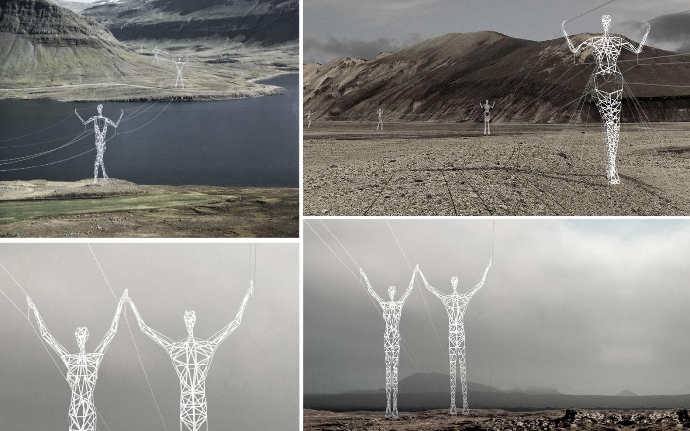 Concept pylônes électriques à forme humaine en ISLANDE