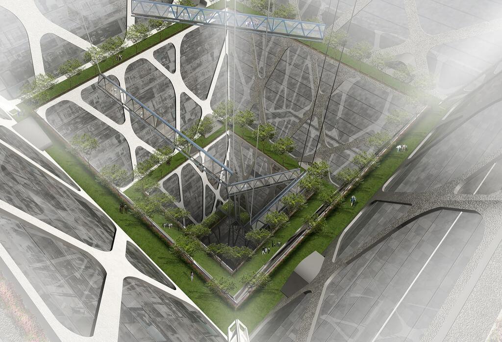 Vue plongeante de l'Earthscraper